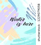 trendy winter poster with hand... | Shutterstock .eps vector #1229079058