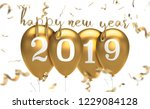 gold 2019 happy new year... | Shutterstock . vector #1229084128