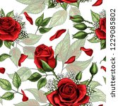 red rose bouquets and green... | Shutterstock .eps vector #1229085802