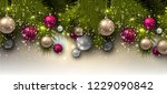christmas background with balls.... | Shutterstock .eps vector #1229090842