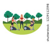 fitness people at park | Shutterstock .eps vector #1229112598