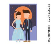 wedding couple cartoon | Shutterstock .eps vector #1229116288