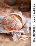 homemade sourdough bread. round ...   Shutterstock . vector #1229118892