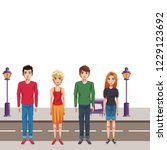 friends young people cartoon   Shutterstock .eps vector #1229123692
