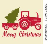 christmas tractor with a... | Shutterstock .eps vector #1229125222