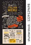 pizza menu for italian... | Shutterstock .eps vector #1229129698