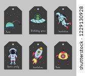 set of astronomy hand drawn... | Shutterstock .eps vector #1229130928
