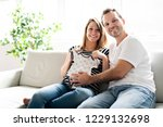 a pregnancy and people concept... | Shutterstock . vector #1229132698