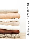 warm woolen sweaters and... | Shutterstock . vector #1229133118