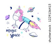 space and unicorn  hand drawing ... | Shutterstock .eps vector #1229136415