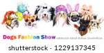 dog with fashion accessories.... | Shutterstock . vector #1229137345