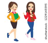 two young women walking and... | Shutterstock .eps vector #1229145595
