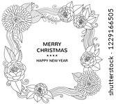 christmas floral vintage frame. ... | Shutterstock .eps vector #1229166505