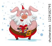 cartoon santa pig with gift | Shutterstock .eps vector #1229182795