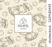 background with falafel in pita ... | Shutterstock .eps vector #1229183455