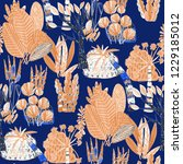 creative seamless pattern with... | Shutterstock . vector #1229185012