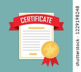 certificate icon with ribbon... | Shutterstock .eps vector #1229198248