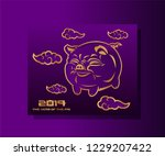 the pig  symbol of the new 2019 ... | Shutterstock .eps vector #1229207422