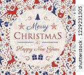 decorative christmas card with... | Shutterstock .eps vector #1229231305