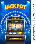 golden slot machine wins the... | Shutterstock .eps vector #1229232145