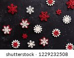 beautiful wooden red and white... | Shutterstock . vector #1229232508