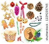 christmas watercolor... | Shutterstock . vector #1229235745