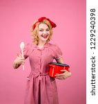 pin up housewife hold wooden... | Shutterstock . vector #1229240398