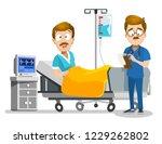 hospitalized afraid man lying... | Shutterstock .eps vector #1229262802