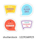 blogger day stickers with text  ... | Shutterstock .eps vector #1229268925