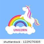romantic fairy tale unicorn... | Shutterstock .eps vector #1229270305