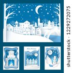 merry christmas paper cuts of... | Shutterstock .eps vector #1229272075