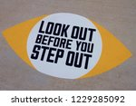 look out before you step sign... | Shutterstock . vector #1229285092