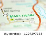 Small photo of Mark Twain. Missouri. USA on a geography map