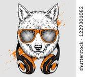 wolf hipster in the headphones. ... | Shutterstock .eps vector #1229301082