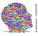 Stock photo business idea concept present by colorful question label in head isolated on white background 122934235