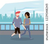 man and woman couple walking | Shutterstock .eps vector #1229348245