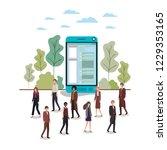 smartphone with people around...   Shutterstock .eps vector #1229353165