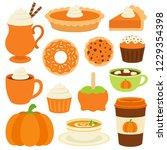 pumpkin spice vector set.... | Shutterstock .eps vector #1229354398