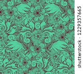 flower doodles seamless pattern.... | Shutterstock .eps vector #1229357665