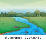 bank,beautiful,beauty,blue,branch,cartoon,cloud,colorful,drawing,flow,flowing,graphic,grass,green,greenery