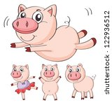 illustration of pigs on a white ... | Shutterstock .eps vector #122936512