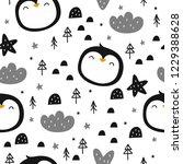 happy cartoon penguin seamless... | Shutterstock .eps vector #1229388628