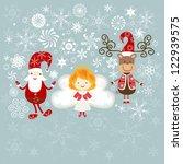 christmas card with santa ... | Shutterstock .eps vector #122939575