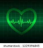 green heart pulse monitor with... | Shutterstock .eps vector #1229396845