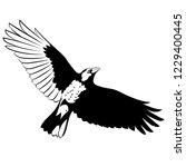 flying mighty black raven  crow ... | Shutterstock .eps vector #1229400445