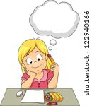 Illustration Of A Girl Thinkin...