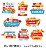 fast food vector symbols with... | Shutterstock .eps vector #1229418982