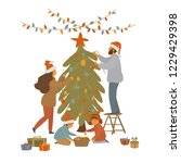 cute cartoon family decorates... | Shutterstock .eps vector #1229429398