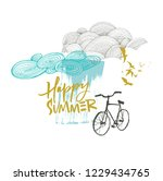 happy summer card with clouds... | Shutterstock .eps vector #1229434765