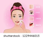 woman wipes the face with a... | Shutterstock .eps vector #1229446015